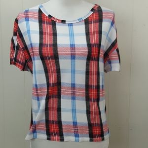 Zara Trafaluc Plaid Tee T-Shirt Top
